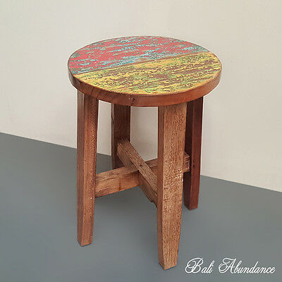 Hand Made Rustic Recycled Boat Wood Stool Side Table colour Timber
