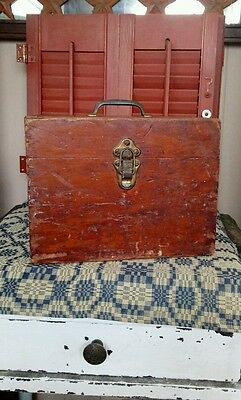 Old Primitive Antique Oak Wood Drill or Tool Box with Metal Handle