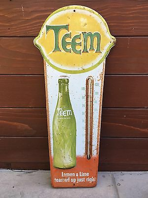 Vintage TEEM Soda Thermometer Sign   Antique Embossed Sign