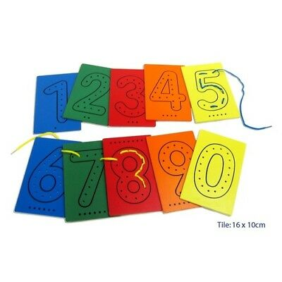 LACING NUMBERS Boards Tiles WOODEN Box Shoe Laces Educational TOY Kids 0 to 9