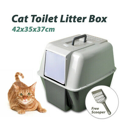 Portable Hooded Cat Toilet Litter Box Tray House w/ Handle Scoop Clean AU Stock