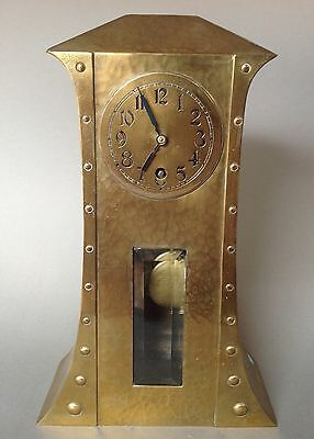 Jugendstil Messing Uhr Kommoden- Kaminuhr Tischuhr Mantle Clock Kreuzpfeil ~1910