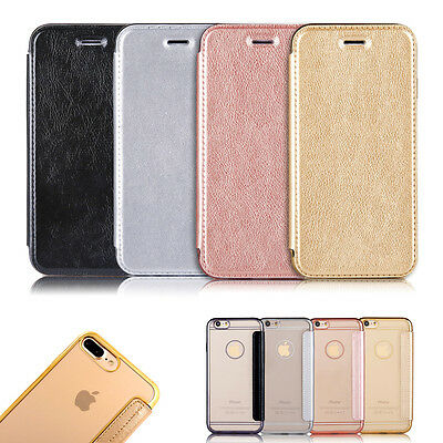 Ultra-thin Flip Leather Wallet Clear TPU Back Case Cover For iPhone 7 7 Plus 6s