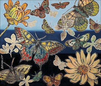 "DAVID BROMLEY ""Butterflies I"" Signed Limited Edition Print, 78cm x 92cm"