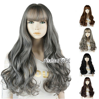 6 Colors Lolita Long Curly Hair Fashion Women Daily Party Cosplay Wig With Bangs