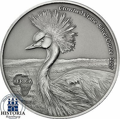Africa Serie: Ghana 5 Cedis Antique Finish Coin- Crowned Crane Silver Ounce 2017