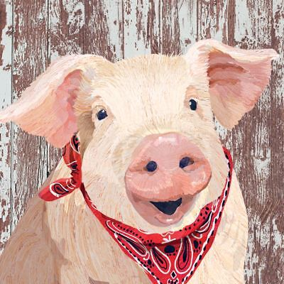 "FARM PIG PINK BROWN WHITE 3-PLY 20 PAPER NAPKINS SERVIETTES 13""x13""–33X33CM"