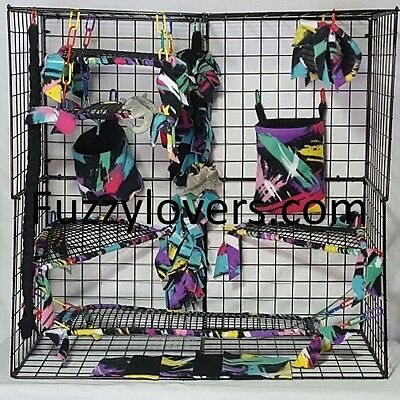 Paintsplash *15 PC open weave Sugar Glider Cage set *Rat * double layer Fleece