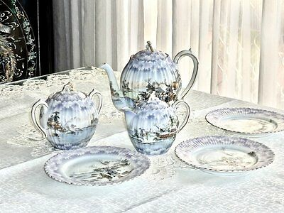 Outstanding Hand Crafted Antique Fine Porcelain Kutani Tea Set Signed Japan C 19