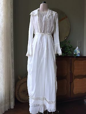 Edwardian Tea Dress Set Irish Lace Tatted Trim Petticoat Wedding Gown Antique