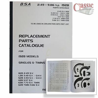 BSA 1928 Parts Book All Models