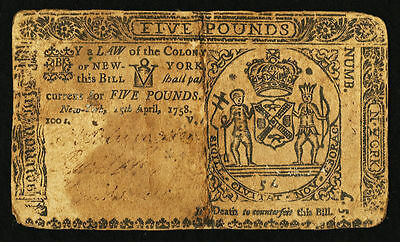 New York Colonial Currency - April 15, 1758 -5 Pounds