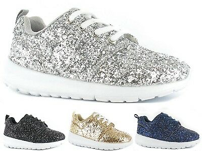 8080163504797 New Kids Girls Lightweight Glitter Lace Up Sport Running Trainers Shoes Size