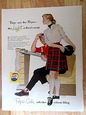 1950s Pepsi Cola Time out for Pepsi the Light Refreshment Print Ad