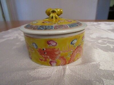Antique 19th c Chinese Imperial Yellow Porcelain Round Trinket Jewelry Box