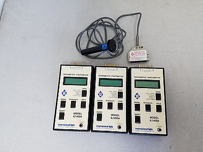 Lot of 3 International Light IL1400A Radiometer/Photometer with One Probe