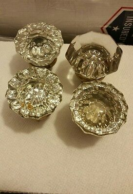 4 different Vintage Antique Brass & GLASS Door Knobs. VG condition