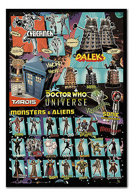 Framed Doctor Who Characters Poster New