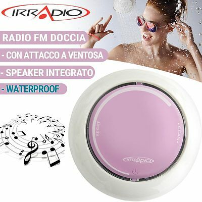 Radio Doccia Fm Waterproof Impermeabile Con Speaker Integrato Rosa Irradio