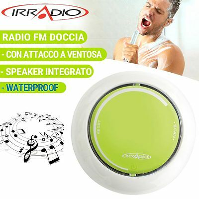 Radio Doccia Fm Waterproof Impermeabile Con Speaker Integrato Verde Irradio