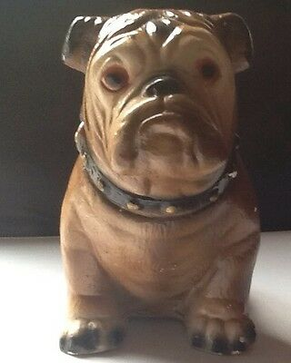 "Vtg English Bulldog Plaster Chalk Ware 8"" Figurine Bank"