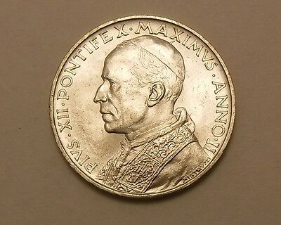 1940 VATICAN 5 LIRE SILVER COIN UNC FROSTY WHITE nice!