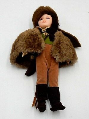 """BEAUTIFUL 12"""" DOLL w/ REMOVABLE BEAVER HAT WITH MOVING EYES & FUR COAT"""