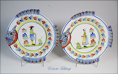 "Pair of Hand-Painted Quimper France Fish Plates - 10""  Mint!"