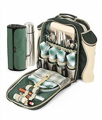 Greenfield Collection Super Deluxe Picnic Backpack Hamper For Four People In