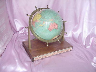 Old 1937 Replogle 10 Inch World Globe W/  Wood Stand & Illustrated Atlas Nr