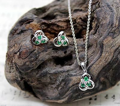 14Ct White Gold Diamond & Emerald Celtic Necklace Earring Set, Hallmarked, 45Cm