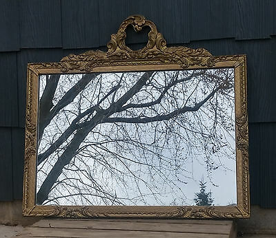 Antique Victorian Wall Mirror, Gold Baroque Wood & Gesso Frame w/ Ornate Crest