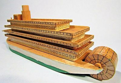 Wooden Mississippi Riverboat Vintage Folk Art Model Ship Nautical Americana