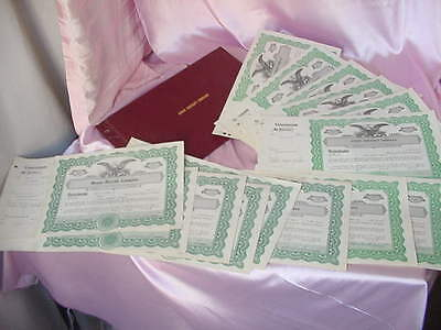 Collection 14 Used & Blank Vintage Stock Certificates Union Aircraft Co.