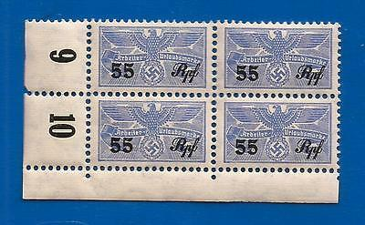 Nazi Germany Third 3rd Reich revenue 55 stamps block Eagle over Swastika WW2 MNH