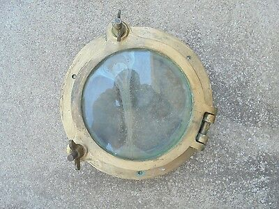 "10"" Od Inch Bronze Porthole Port Ship Boat Brass Man Cave Cracked Glass"