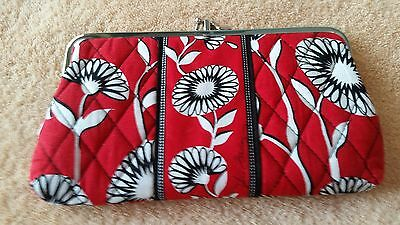 """Vera Bradley red floral top clasp wallet purse ID CC 2 compartments 8"""" X 5"""""""