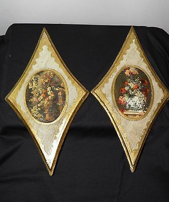 2 Vtg ITALLIAN FLORENTINE WALL PLAQUES Large Gold Gilt  Wood Flowers Italy