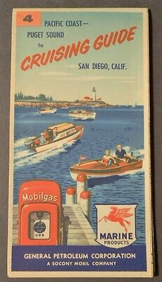 1955 PACIFIC COAST CRUISING GUIDE / FOLDING MAP # 4  Socony Mobil Oil Marine