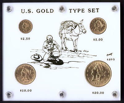 4pc [W] US Gold Coin Type Set $20+$10+$5+$2.5 Liberty Double Eagle Half Quarter