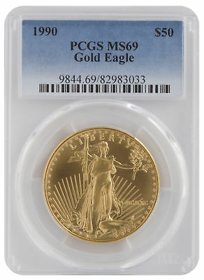 1990 - $50 1oz Gold American Eagle MS69 PCGS Blue Label