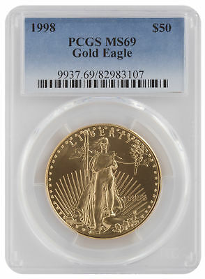 1998 - $50 1oz Gold American Eagle MS69 PCGS Blue Label
