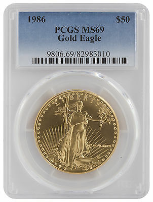 1986 - $50 1oz Gold American Eagle MS69 PCGS Blue Label