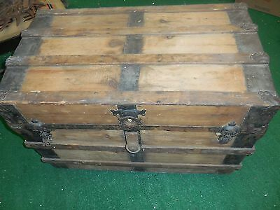 Antique Steamer Trunk Vintage Flat Top Chest