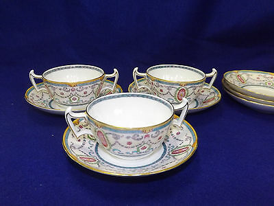 Royal Doulton pattern E9627 3 Bouillon Cup & Saucer Sets Bows Swags Cameos