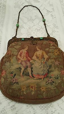 """Antique Victorian purse. Tapestry of man and woman. """"Jeweled""""  frame and chain"""