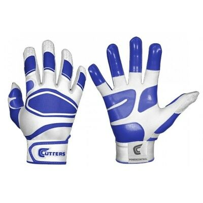 Shock Doctor Cutters Men's Power Control Batting Gloves, White/Royal Adult Small
