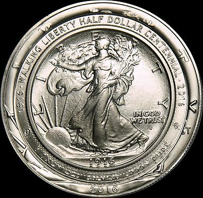 Daniel Carr 1916-S Walking Liberty Centennial Struck on US Silver Eagle 1 of 13