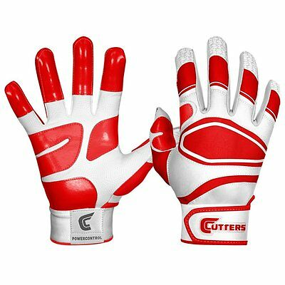 Shock Doctor Cutters Men's Power Control Batting Gloves, White/Red, Adult Small