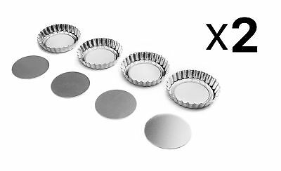 "Fox Run 4"" Tartlet Quiche Pan Set W/ Removable Bottom Set Of 4 Pastry (2-Pack)"